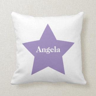 Cojín Decorativo Estrella púrpura personalizada. Colección púrpura