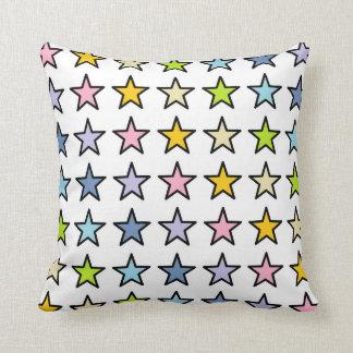 Cojín Decorativo Estrellas en colores pastel resumidas negro del