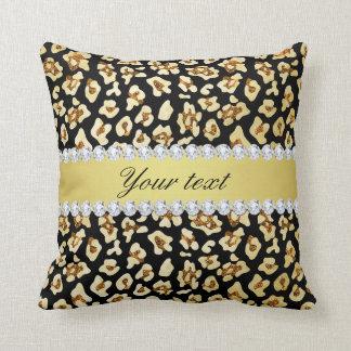 Cojín Decorativo Falso brillo del oro del leopardo y negro de la