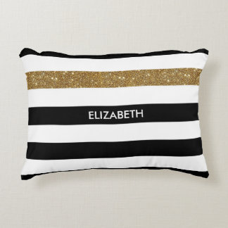 Cojín Decorativo FALSO Glitz y nombre del oro de las rayas negras