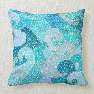 Cojín Decorativo Falso océano del oro del trullo del Mar del brillo