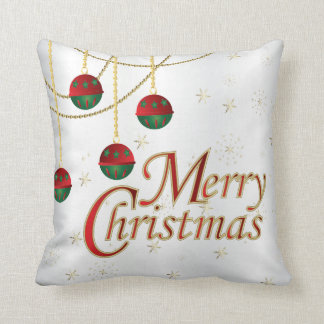 Cojín Decorativo Felices Navidad del blanco, del oro, verdes y