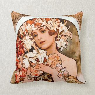 Cojín Decorativo Flor, bella arte Alfonso Mucha