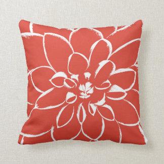 Cojín Decorativo Flor roja de la fiesta el | de la dalia