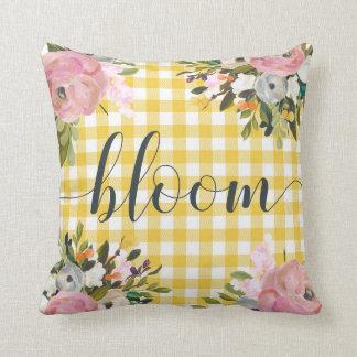 Cojín Decorativo Floración floral y amarilla de la acuarela de la