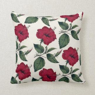 Cojín Decorativo Floral elegante de marfil verde rojo oscuro del