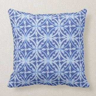 Cojín Decorativo Floral redondeada Asia Central azul del vintage de