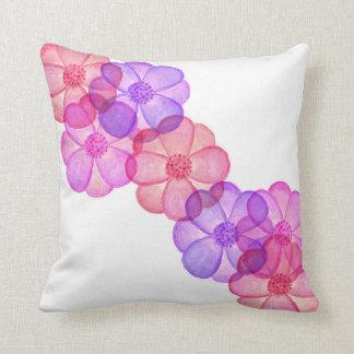 Cojín Decorativo Flores pintadas fucsia púrpura rosado de la