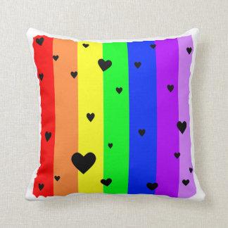 Cojín Decorativo Fondo del arco iris con los corazones y las