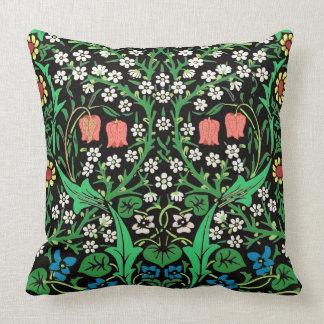 Cojín Decorativo Fondo floral de William Morris, negro jacobeo
