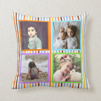 Cojín Decorativo Foto de encargo x5 de las rayas coloridas