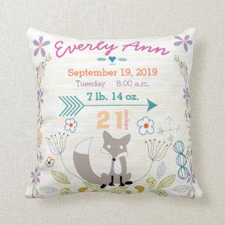 Cojín Decorativo Fox de las criaturas del arbolado de la niña del