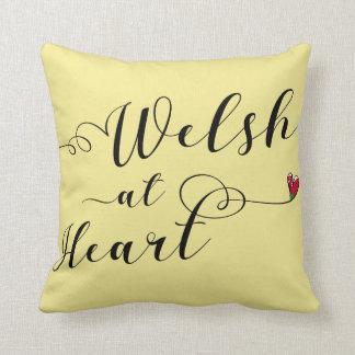 Cojín Decorativo Galés en el amortiguador del tiro del corazón,