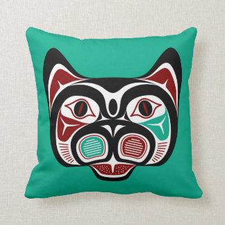Cojín Decorativo Gatito del noroeste del Haida de la Costa del