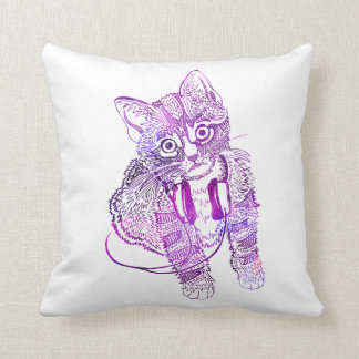 Cojín Decorativo Gato colorido divertido en el ejemplo de los