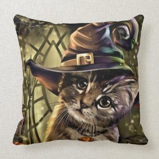 Cojín Decorativo Gato de la bruja de Halloween