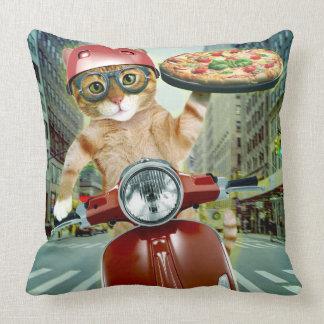 Cojín Decorativo gato de la pizza - gato - entrega de la pizza