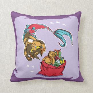 Cojín Decorativo Gato de la sirena del navidad con el saco de Santa