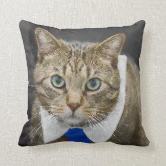 Cojín Decorativo Gato de tabby marrón de ojos verdes lindo que