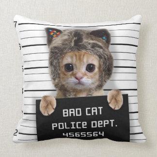 Cojín Decorativo gato del mugshot - gato loco - gatito - felino