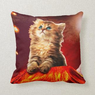 Cojín Decorativo gato del volcán, gato vulcan,