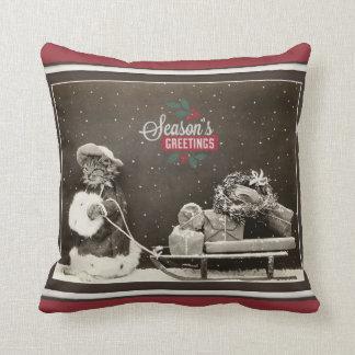 Cojín Decorativo Gato lindo estupendo del navidad del vintage