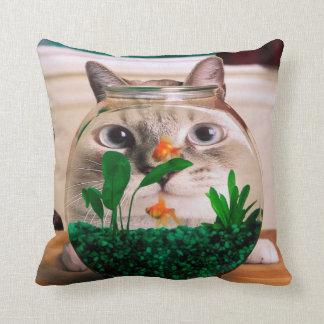 Cojín Decorativo Gato y pescados - gato - gatos divertidos - gato
