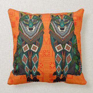 Cojín Decorativo geo del naranja del lobo