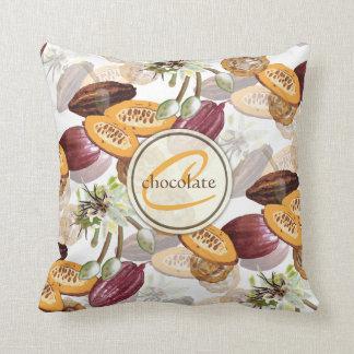 Cojín Decorativo Granos de cacao, flores del chocolate, los regalos