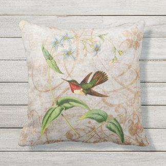 Cojín Decorativo Grunge centelleante del vintage del colibrí