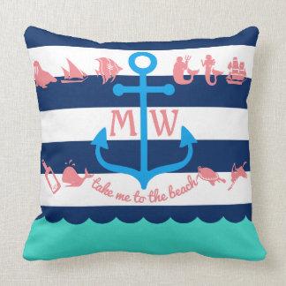 Cojín Decorativo Haga sus propias rayas náuticas del ancla de la