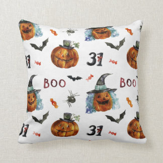 Cojín Decorativo Halloween - 31 calabazas y acuarelas de los palos
