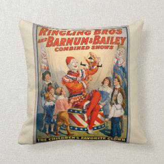 Cojín Decorativo Hermanos de Ringling del poster del vintage del