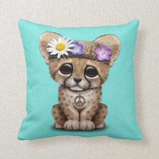 Cojín Decorativo Hippie lindo de Cub del guepardo