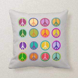 Cojín Decorativo Hippie Popart, 70.o, 1970 del signo de la paz