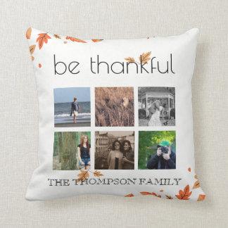 Cojín Decorativo Hojas de otoño agradecidas del collage de la foto