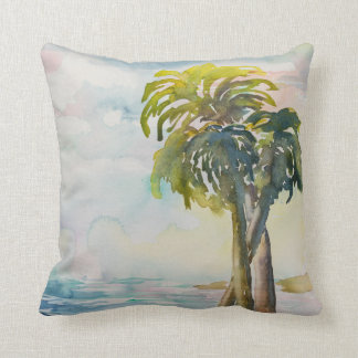 Cojín Decorativo Hojas tropicales de las palmeras del océano de la
