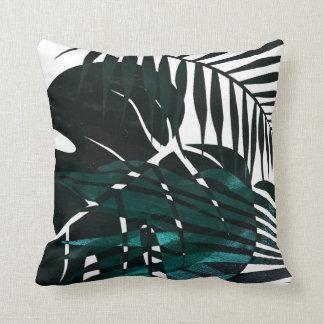 Cojín Decorativo Hojas tropicales verde oscuro metálicas