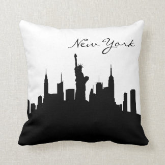Cojín Decorativo Horizonte blanco y negro de Nueva York