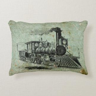 Cojín Decorativo Ilustracion del tren del vapor en el amortiguador
