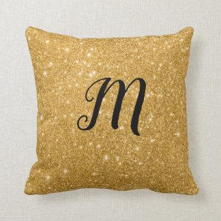 Cojín Decorativo Impresión Bling de la chispa del oro con inicial