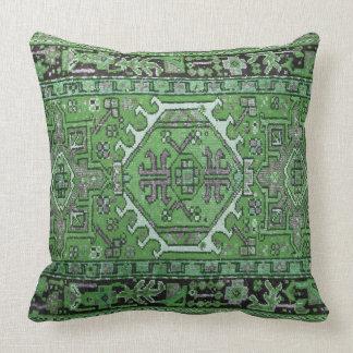 Cojín Decorativo Impresión de la alfombra oriental antigua en verde