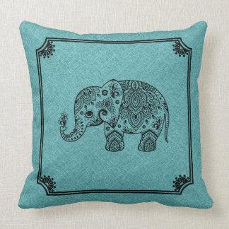 Cojín Decorativo Impresión de lino azul clara y elefante negro de