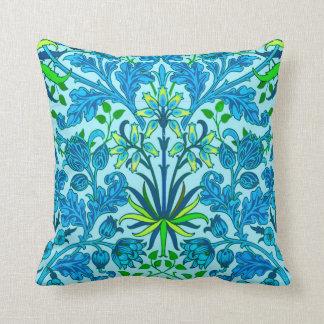 Cojín Decorativo Impresión del jacinto de William Morris, azul