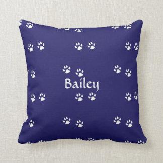 Cojín Decorativo Impresiones de la pata del perro en azul: