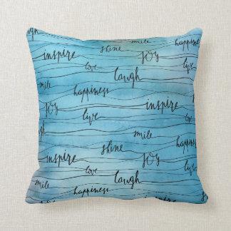 Cojín Decorativo Inspiraciones emocionales en acuarela azul