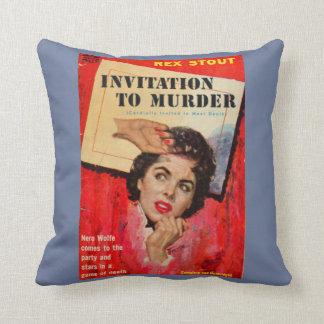Cojín Decorativo invitación de los años 50 a asesinar la impresión