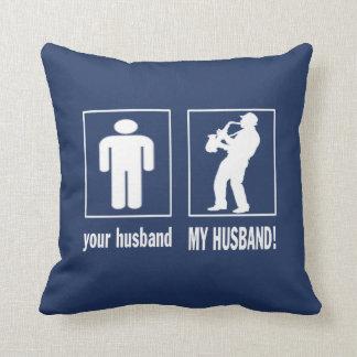 Cojín Decorativo Jugador de saxofón - mi marido