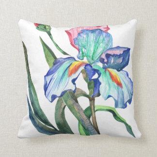 Cojín Decorativo La aguamarina azul y se ruboriza flor rosada del