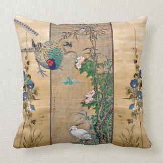 Cojín Decorativo La correhuela de los pájaros del faisán florece la